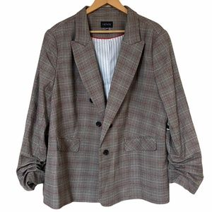 1.State Ruched Sleeve Plaid Blazer Open Front